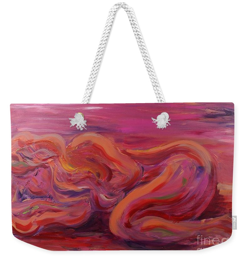 Nude Weekender Tote Bag featuring the painting Beauty by Nadine Rippelmeyer