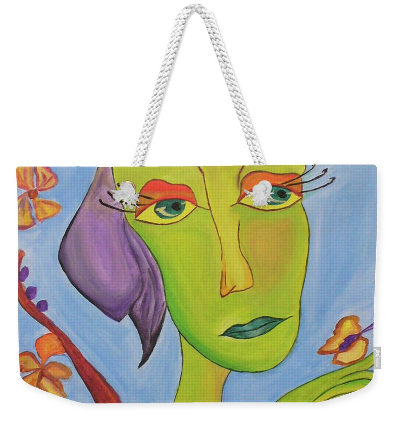 Yang Lady Weekender Tote Bag featuring the painting Beauty by Natalia Lebed