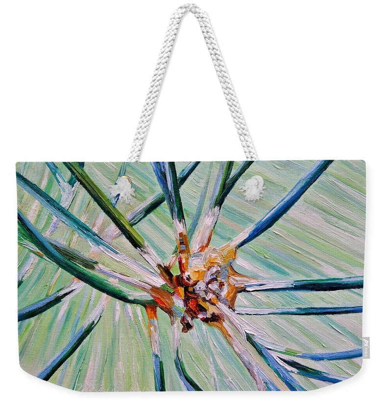 Pine Weekender Tote Bag featuring the painting Link Up by Misuk Jenkins