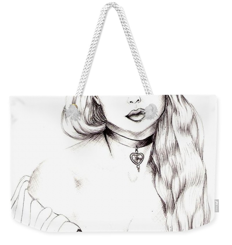 Figure Weekender Tote Bag featuring the drawing Beauty by Scarlett Royal