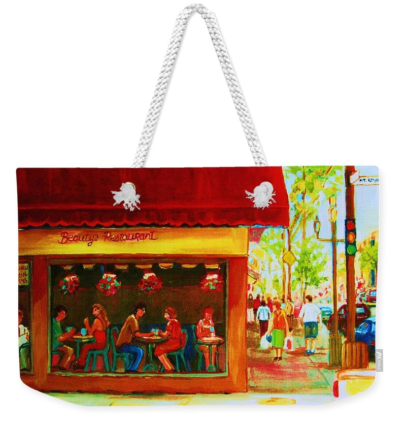 Beautys Cafe Abd Luncheonette Weekender Tote Bag featuring the painting Beautys Cafe With Red Awning by Carole Spandau