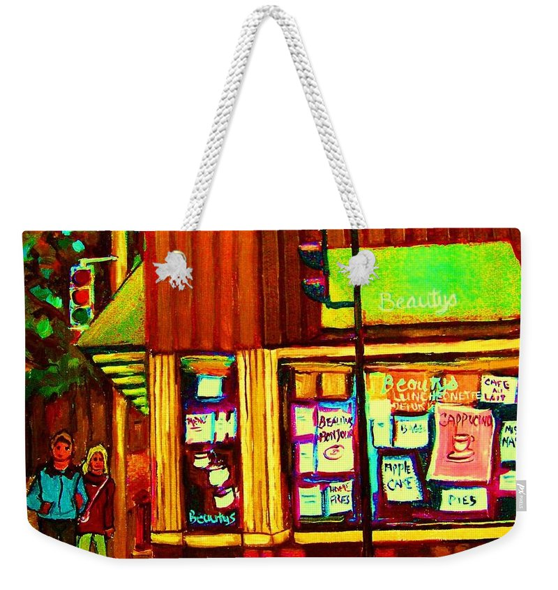 Beautys Restaurant Weekender Tote Bag featuring the painting Beautys Famous Mishmash by Carole Spandau