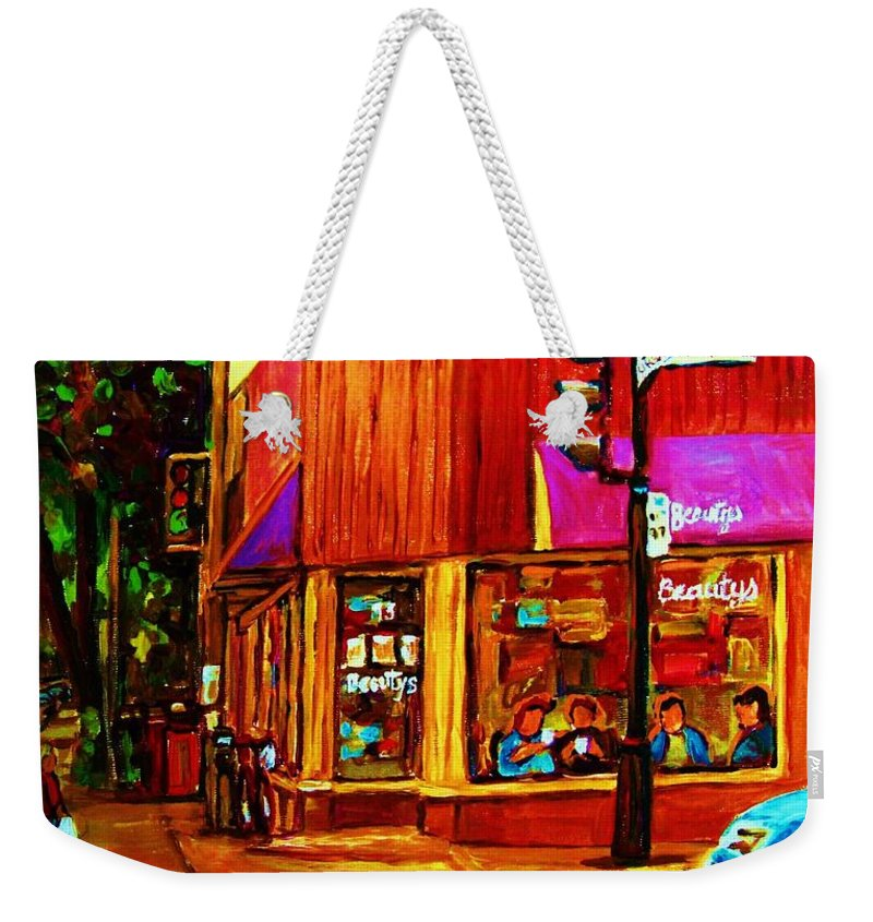 Beautys Restaurant Montreal Weekender Tote Bag featuring the painting Beautys Luncheonette by Carole Spandau