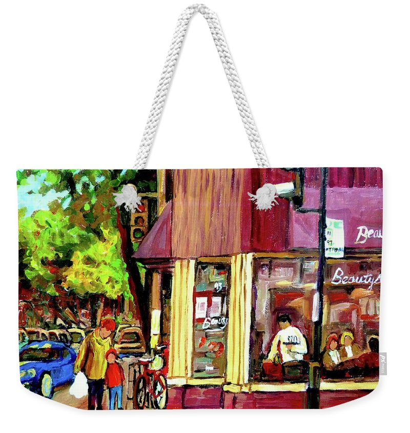 Beautys Luncheonette Montreal Diner Weekender Tote Bag featuring the painting Beautys Luncheonette Montreal Diner by Carole Spandau