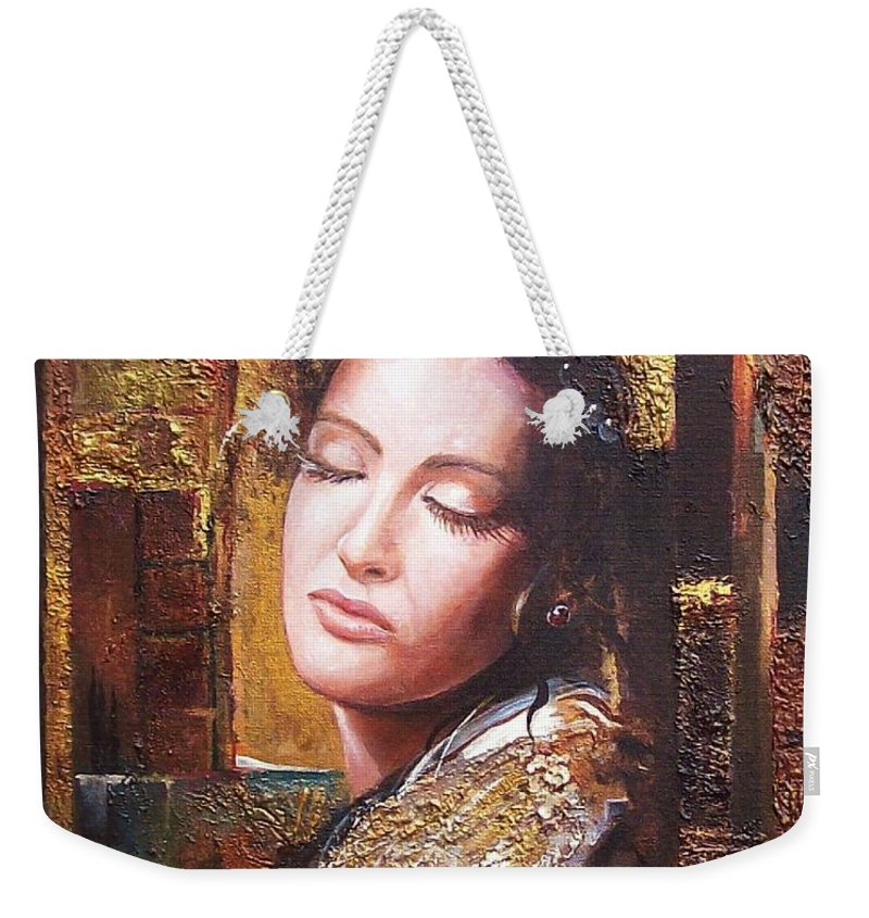 Female Portrait Weekender Tote Bag featuring the painting Because You Are Beautiful by Sinisa Saratlic