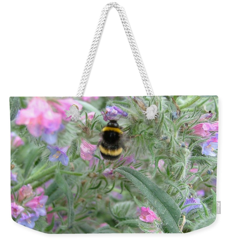 Bee And Flower Weekender Tote Bag featuring the photograph Bee And Flower by Heather Lennox