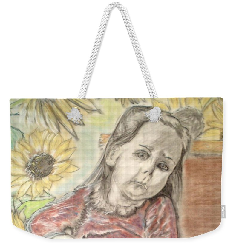Flowers Weekender Tote Bag featuring the drawing Bee In The Flowers by J Bauer