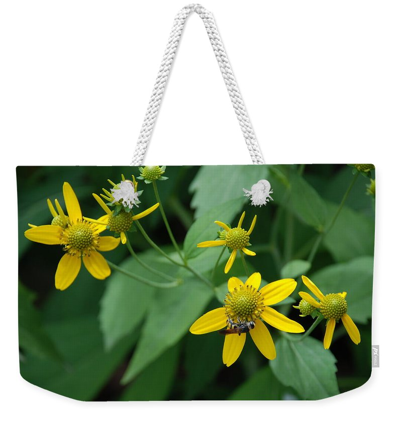 Macro Weekender Tote Bag featuring the photograph Bee On A Flower by Rob Hans