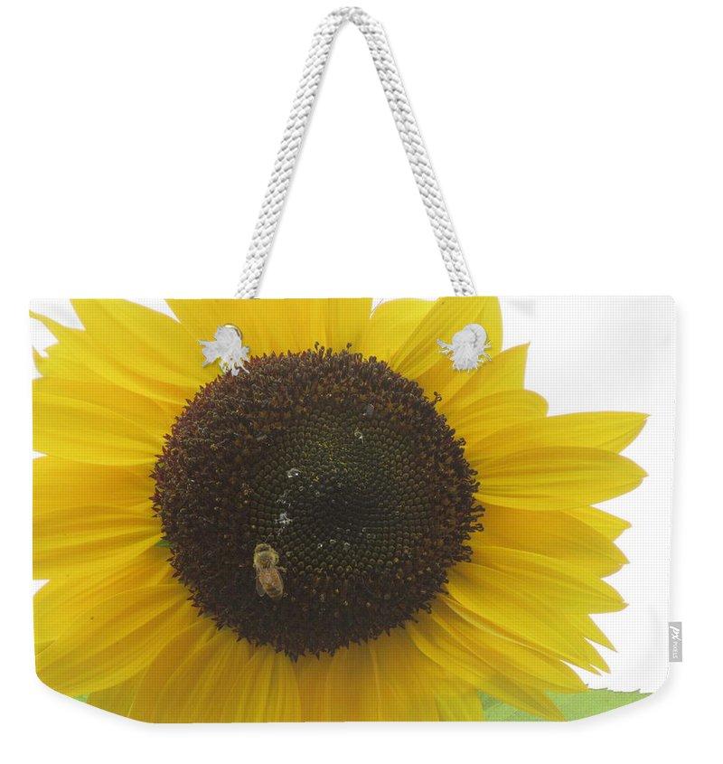 Sunflower Weekender Tote Bag featuring the photograph Bee On Sunflower by Karen Molenaar Terrell