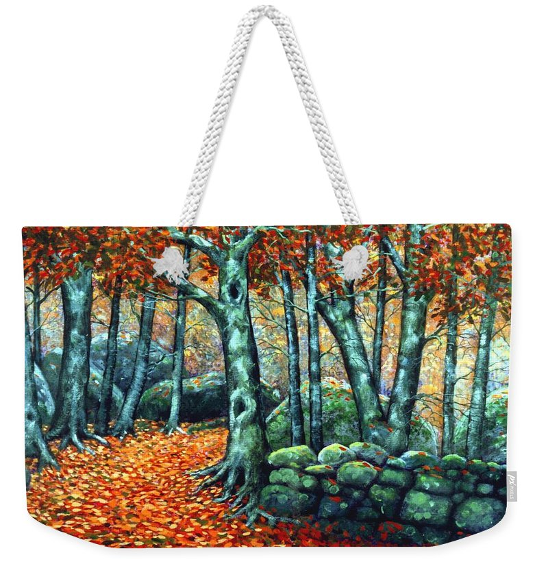 Landscape Weekender Tote Bag featuring the painting Beech Woods by Frank Wilson