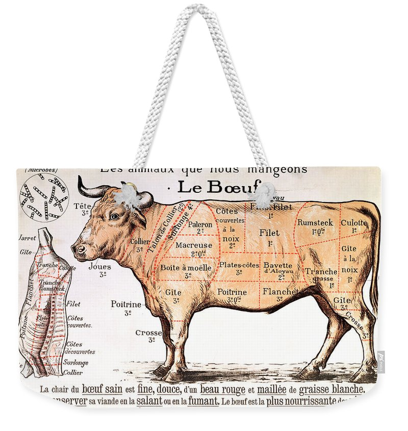 Le Boeuf; Cow; Cut; Joint; Food; Animal; Butchering Weekender Tote Bag featuring the drawing Beef by French School