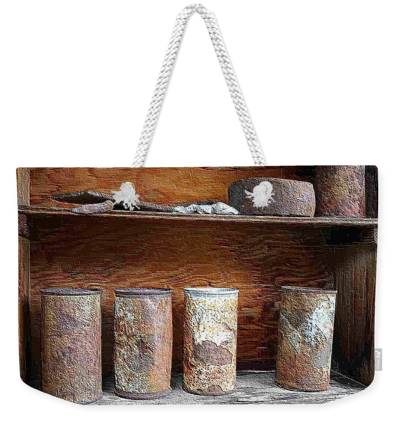 Cans Weekender Tote Bag featuring the photograph Beer Cans On Shelf by Nelson Strong
