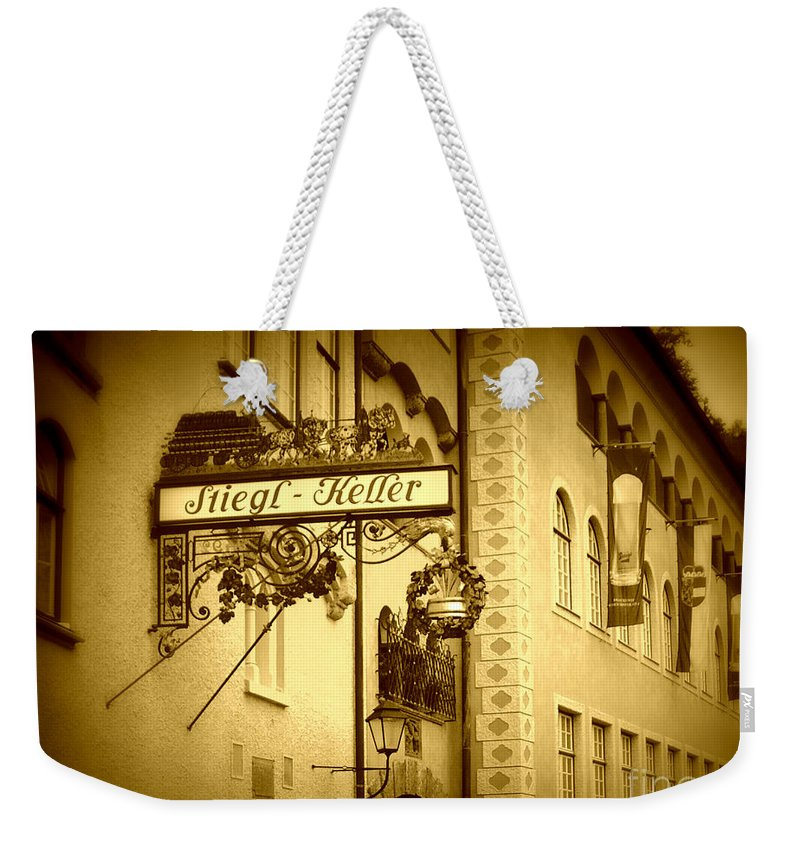 Beer Hall Weekender Tote Bag featuring the photograph Beer Cellar In Salzburg by Carol Groenen