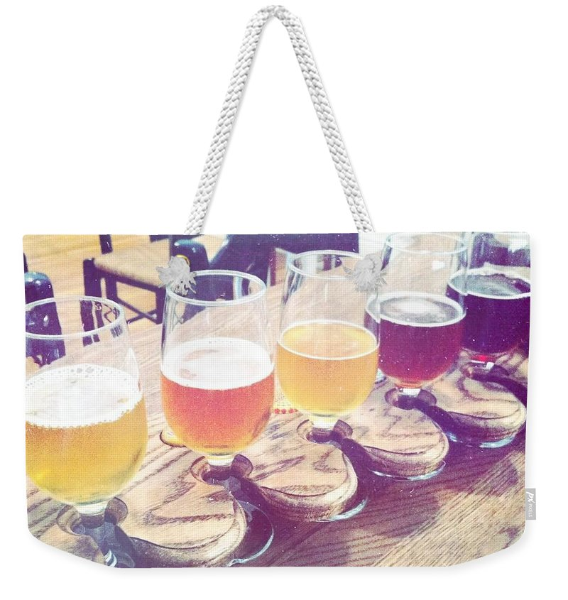 Beer Weekender Tote Bag featuring the photograph Beer Flight by Nina Prommer