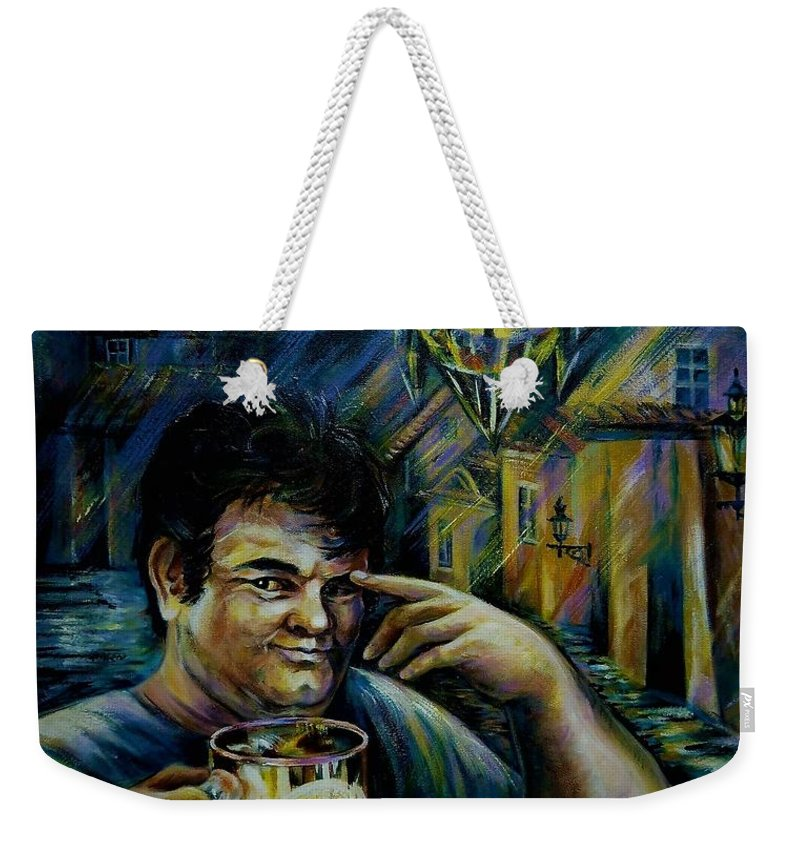 Travel Weekender Tote Bag featuring the painting Beer Of Prague by Anna Duyunova
