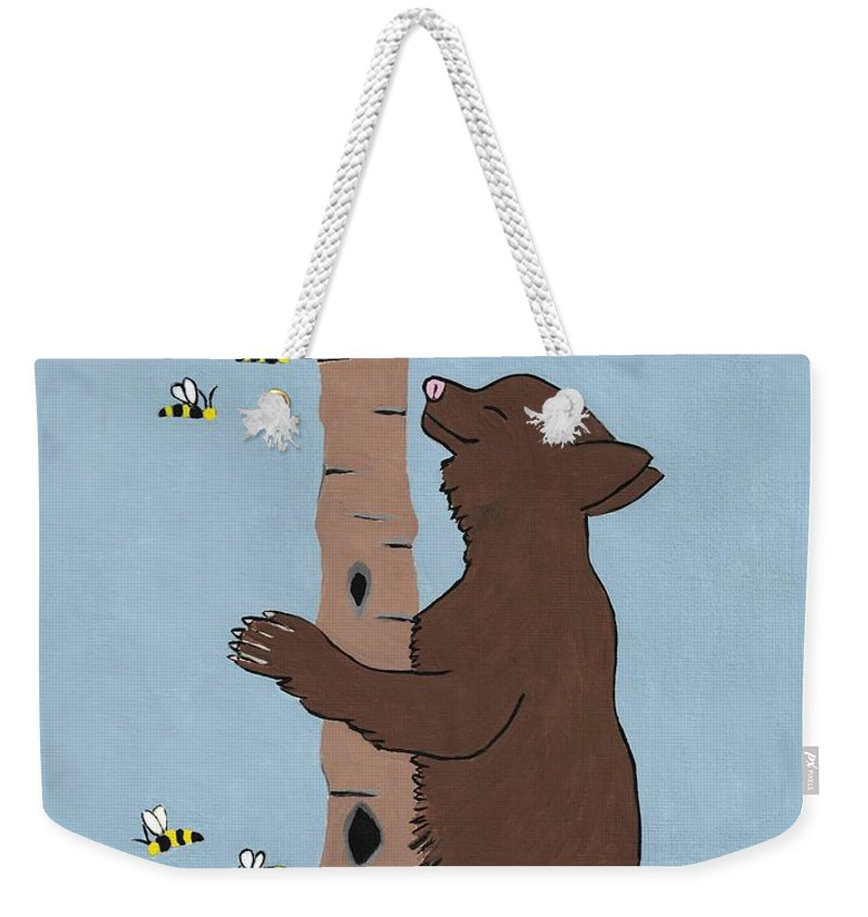 Brown Bear Weekender Tote Bag featuring the painting Bees And The Bear by Kathleen Sartoris