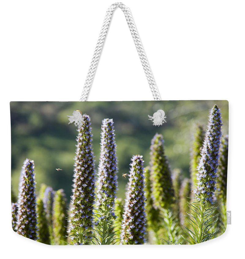 Flowers Weekender Tote Bag featuring the photograph Bees At Work by Kelley King