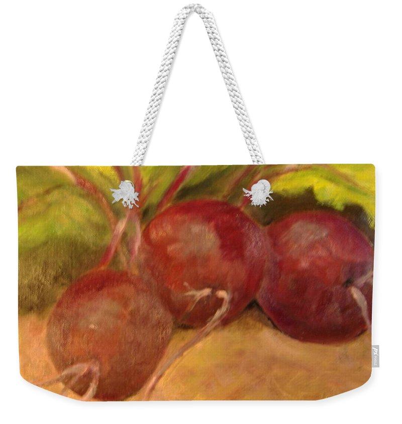 Vegtables Weekender Tote Bag featuring the painting Beet It by Pat Snook