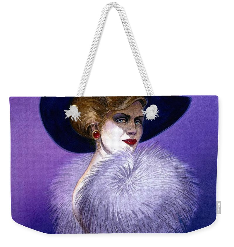 Purple Weekender Tote Bag featuring the painting Beezu by Melissa A Benson