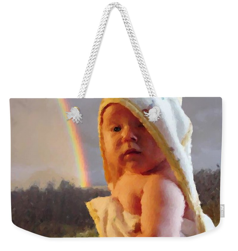 Portrait Weekender Tote Bag featuring the digital art Before She Smiled Or Mona Little by Ron Bissett
