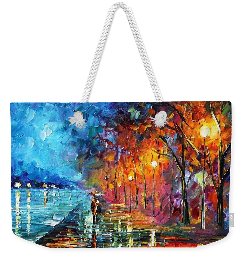 Afremov Weekender Tote Bag featuring the painting Before The Birds Start Singing by Leonid Afremov
