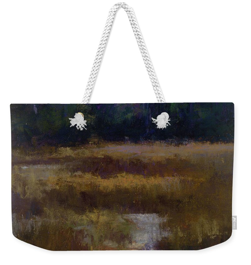Landscapes Weekender Tote Bag featuring the pastel Before The Snow by Susan Williamson
