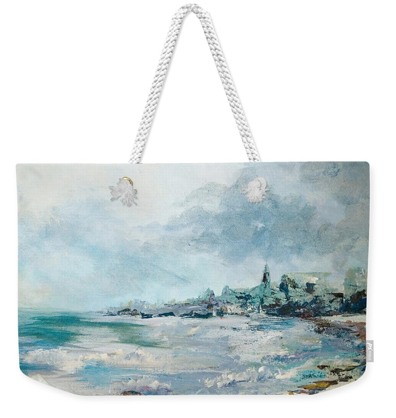 Seascape Weekender Tote Bag featuring the painting Before The Storm by Elisabeta Hermann