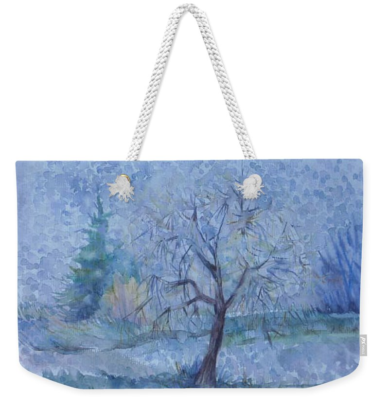 Autumn Weekender Tote Bag featuring the painting Begining Of Another Winter by Anna Duyunova