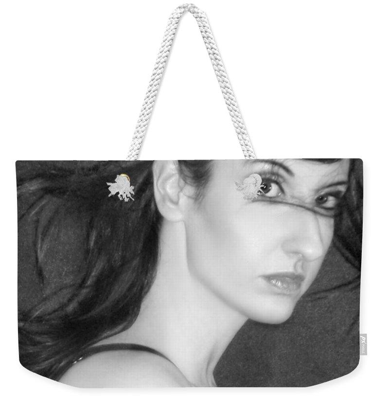 Alluring Weekender Tote Bag featuring the photograph Behind Her Eyes Secrets Sleep... by Jaeda DeWalt