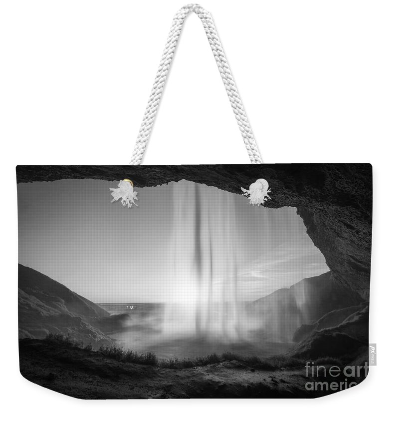 Iceland Weekender Tote Bag featuring the photograph Behind Seljalandsfoss Sunset Bw by Michael Ver Sprill