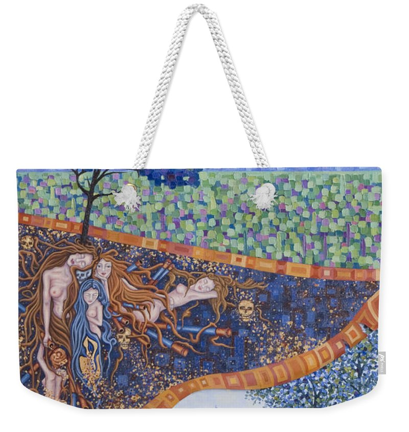 Canvas Weekender Tote Bag featuring the painting Behind The Canvas by Judy Henninger