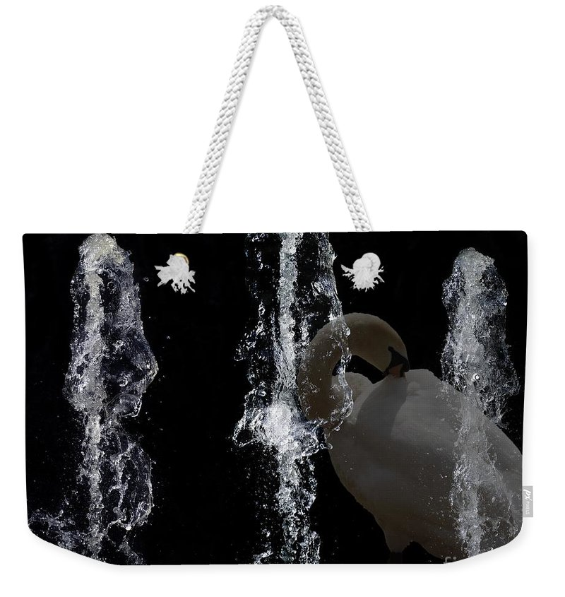 Modern Weekender Tote Bag featuring the digital art Behind The Fountain by Issabild -