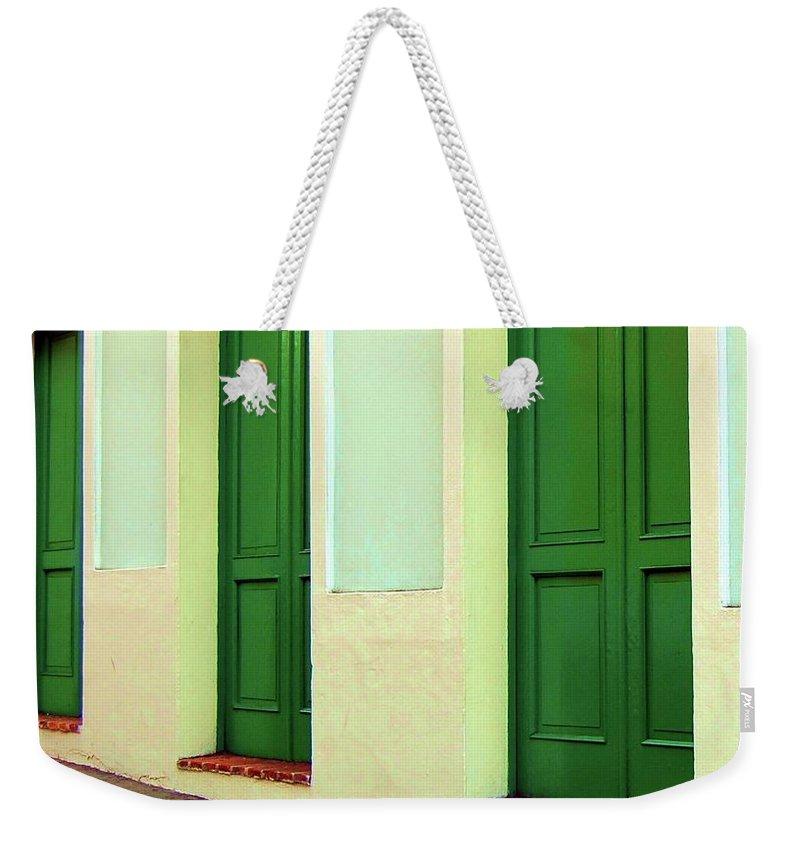 Doors Weekender Tote Bag featuring the photograph Behind the Green Doors by Debbi Granruth