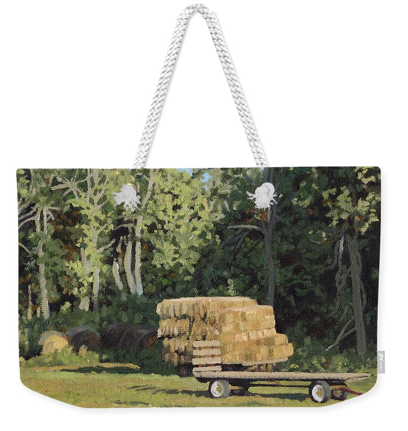 Landscape Weekender Tote Bag featuring the painting Behind The Grove by Bruce Morrison