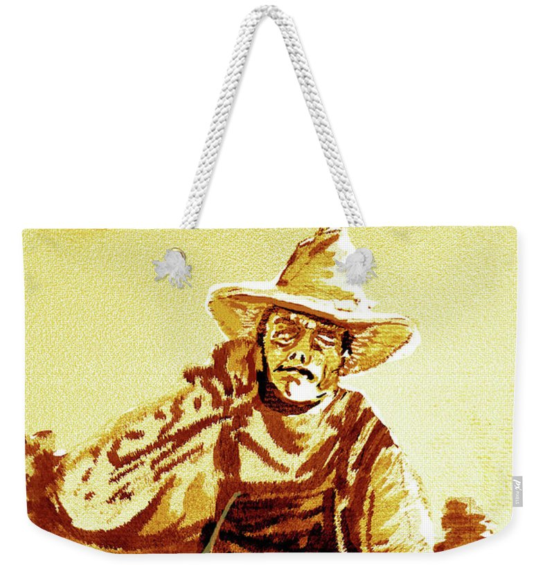 Tobacco Weekender Tote Bag featuring the mixed media Behind The Plow by Seth Weaver