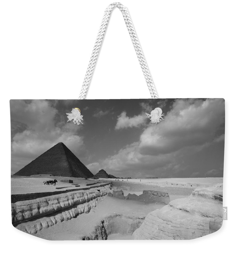 Pyramid Weekender Tote Bag featuring the photograph Behind The Sphynx by Donna Corless