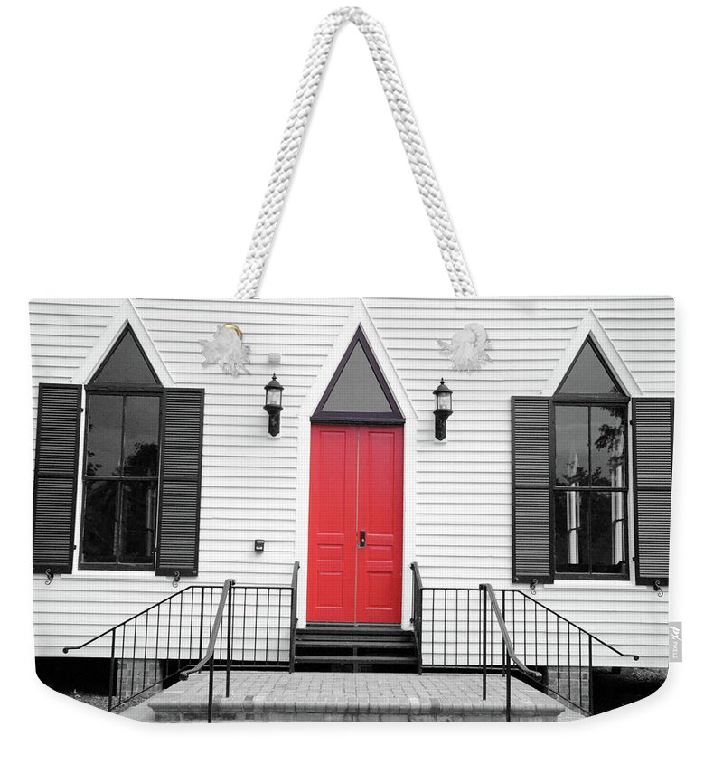 Church Door Weekender Tote Bag featuring the photograph Behold I Stand And Knock by Jonathan Hill