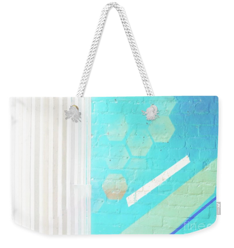 Abstract Weekender Tote Bag featuring the photograph Beige And Turquoise Candy Stripes by Dorothy Hilde