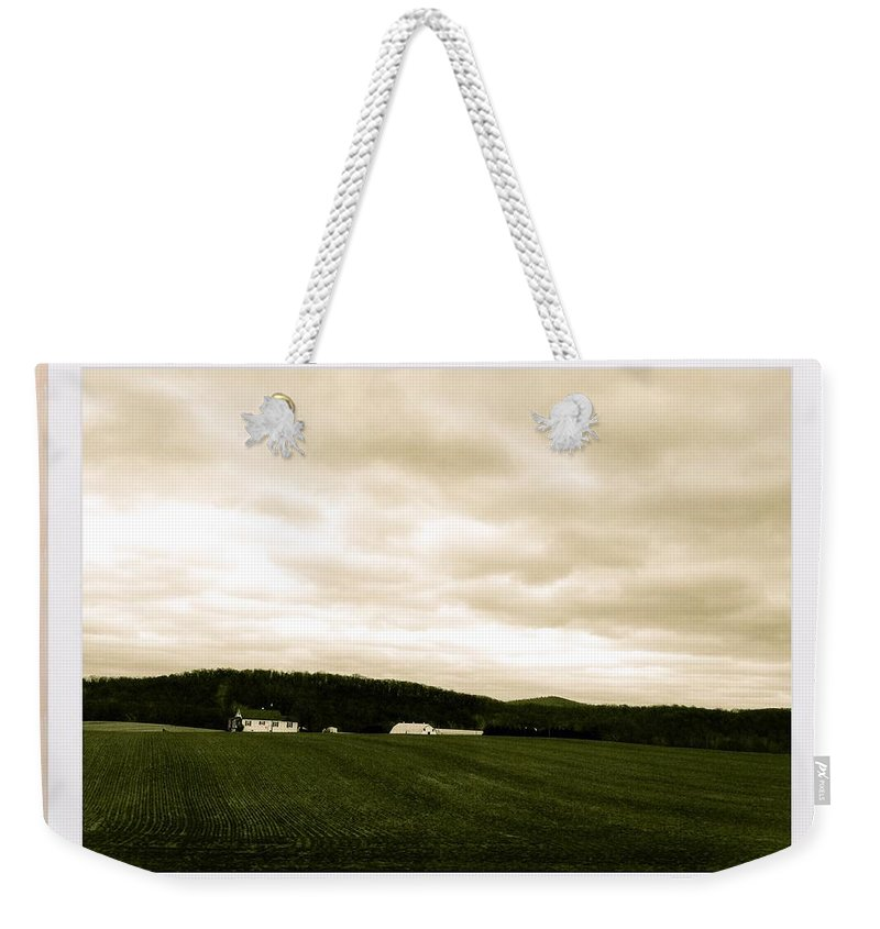 Sky Weekender Tote Bag featuring the photograph Beige Skies Smiling Above by Debra Lynch