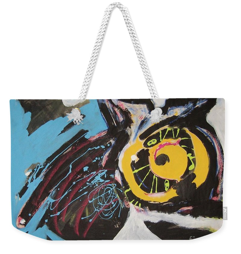 Abstract Cat Paintings Weekender Tote Bag featuring the painting Being Lazy by Seon-Jeong Kim