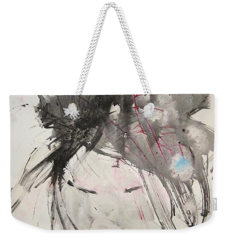 Black And White Paintings Weekender Tote Bag featuring the painting Being Patient by Seon-Jeong Kim