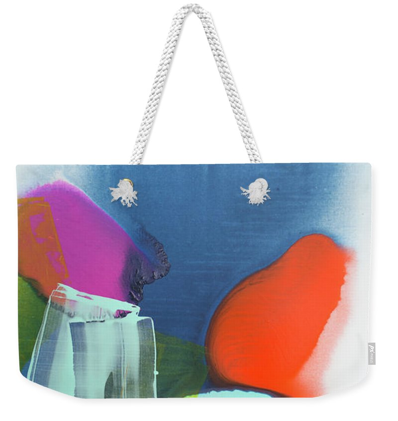 Abstract Weekender Tote Bag featuring the painting Being Sincere by Claire Desjardins