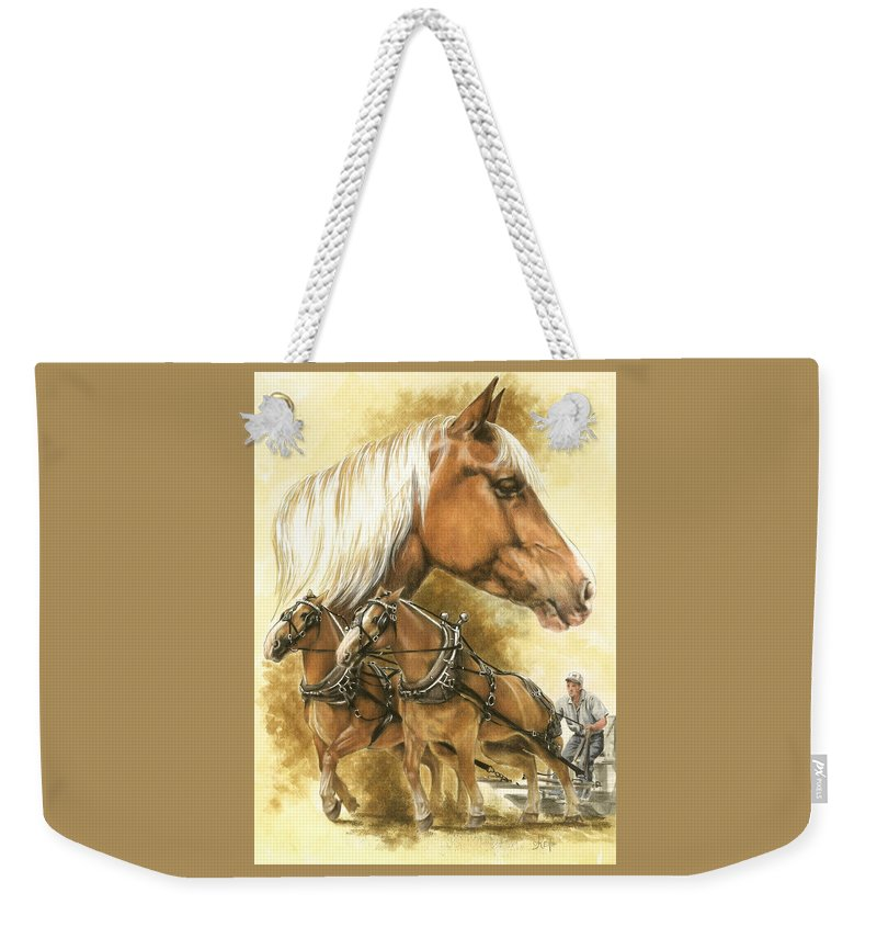 Equus Weekender Tote Bag featuring the mixed media Belgian by Barbara Keith