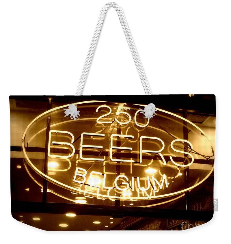 Home Bar Weekender Tote Bag featuring the photograph Belgian Beer Sign by Carol Groenen