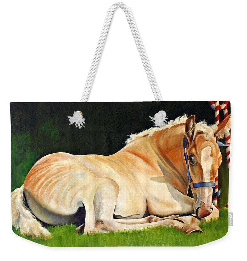 Belgian Weekender Tote Bag featuring the painting Belgian Horse Foal by Toni Grote