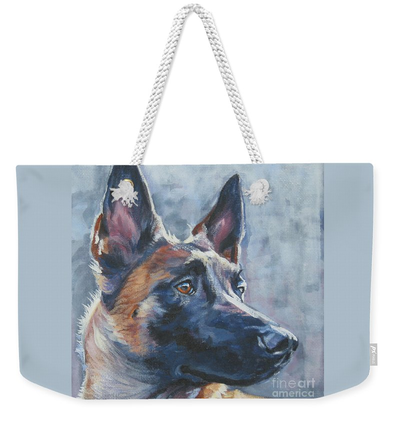 Belgian Malinois Weekender Tote Bag featuring the painting Belgian Malinois In Winter by Lee Ann Shepard