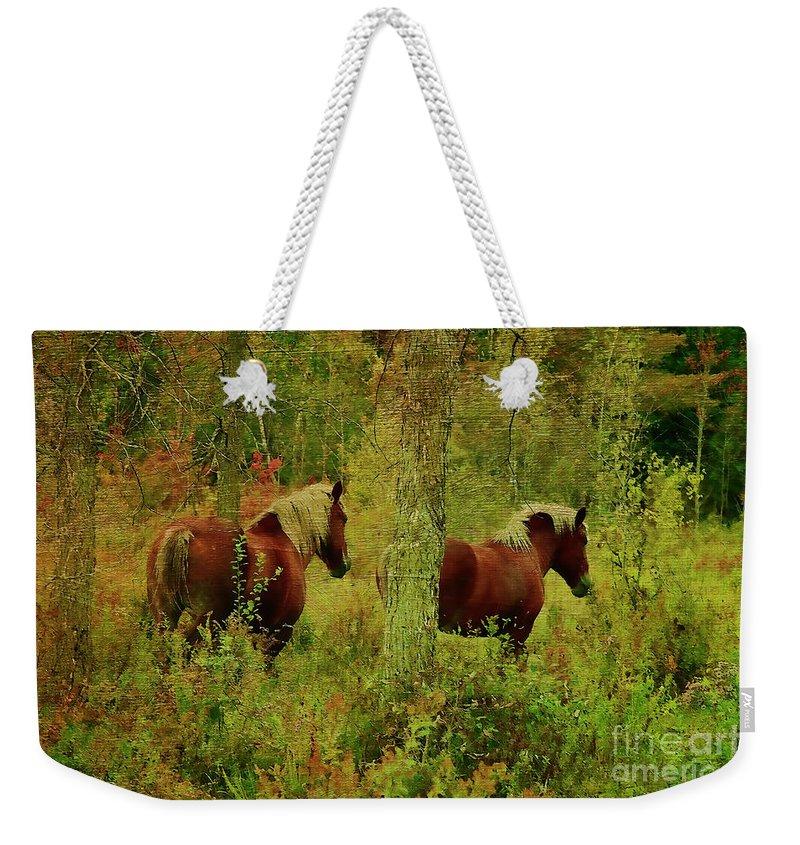 Horses Weekender Tote Bag featuring the photograph Belgians In Fall by Deborah Benoit