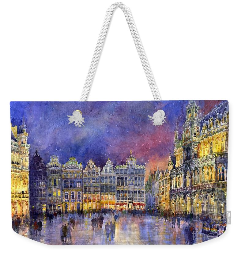 Watercolour Weekender Tote Bag featuring the painting Belgium Brussel Grand Place Grote Markt by Yuriy Shevchuk