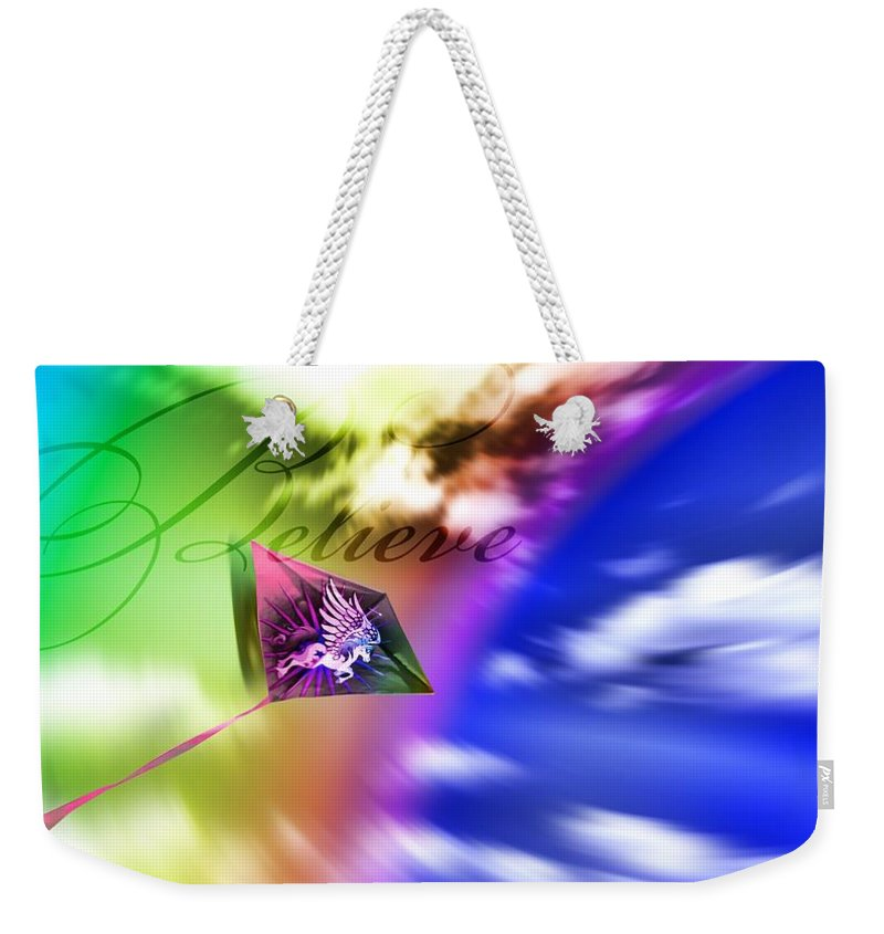 Manipulated Photo Weekender Tote Bag featuring the photograph Believe by Susan Kinney