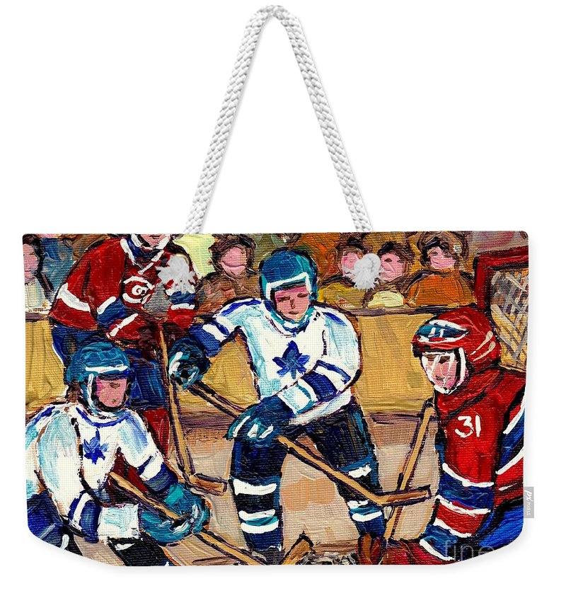 Hockey Weekender Tote Bag featuring the painting Bell Center Hockey Art Goalie Carey Price Makes A Save Original 6 Teams Habs Vs Leafs Carole Spandau by Carole Spandau